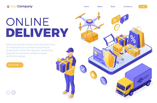 Изометрические интернет-магазины и иллюстрация доставки