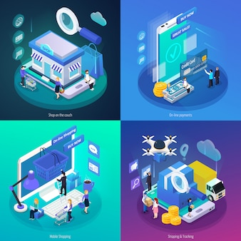 Isometric online shopping banner collection