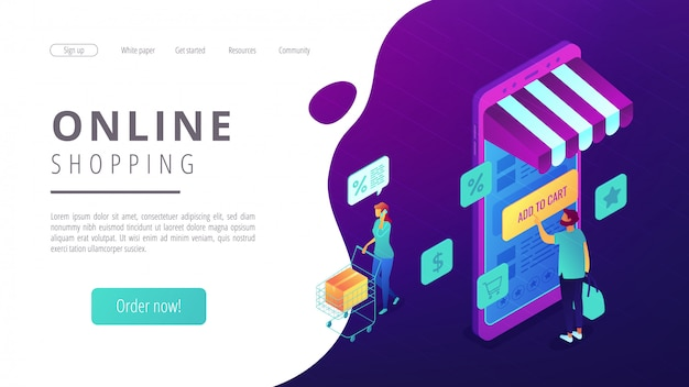 Isometric online shopping and buying landing page.