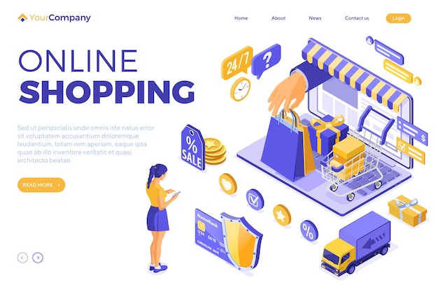 Isometric online shopping and delivery concept with laptop and hand hold bag