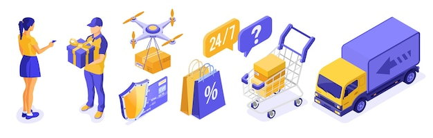 Isometric online shopping delivery logistics concept. delivery goods drone truck cart deliveryman with gift. girl pays for goods by credit card. 24h internet shopping. isolated