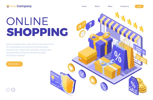 等尺性のオンラインショッピング、配達、ロジスティクスの概念。バッグオンライン配達商品、ギフト、クレジットカード付きノートパソコン。インターネットショッピングのランディングページテンプレート。孤立