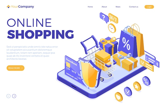 Isometric online shopping, delivery, logistics concept. smartphone with bag online delivery goods, gift, shield, cart, credit card. 24h internet shopping. landing page. isolated