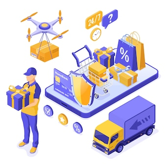 아이소메트릭 온라인 쇼핑 배달 물류 개념입니다. 스마트폰 배달 상품 무인 항공기 트럭 카트 배달원 선물입니다. 24시간 인터넷 쇼핑. 고립 된 벡터 일러스트 레이 션