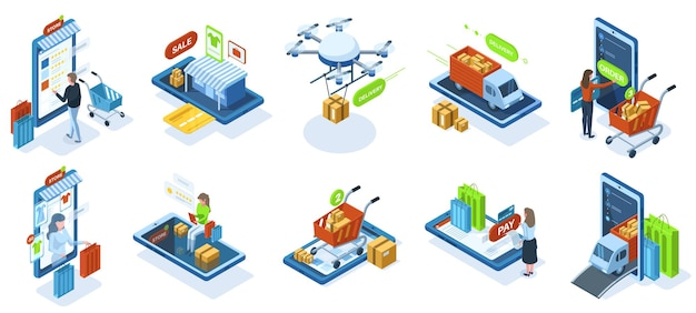 Isometric online shopping, e-shop purchasing payment. online shops marketplace customers, e-shop payment technology vector illustration set. e-commerce purchasing characters