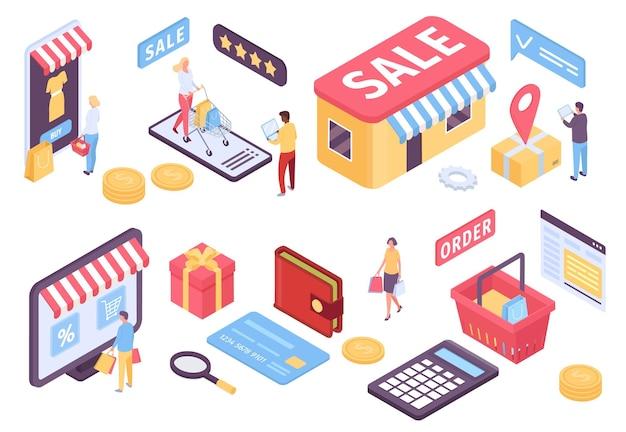 等尺性のオンラインショッピング。マーケットプレイス、ショップ、支払いのためのeコマースモバイルアプリケーション。バッグやカートのベクトルセットをお持ちのお客様。オンライン決済技術、顧客ショッピングマーケティングイラスト