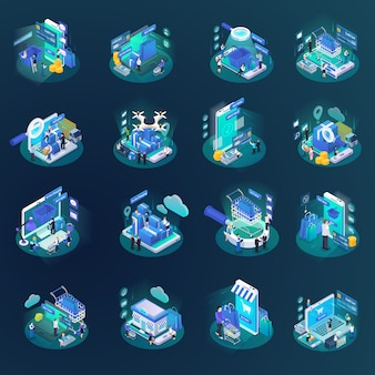 Isometric online shopping element collection