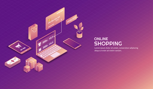 Isometric online shopping elements background
