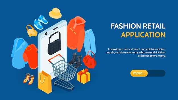 Isometric online shopping fashion horizontal banner with images of goods smartphone editable text and more button