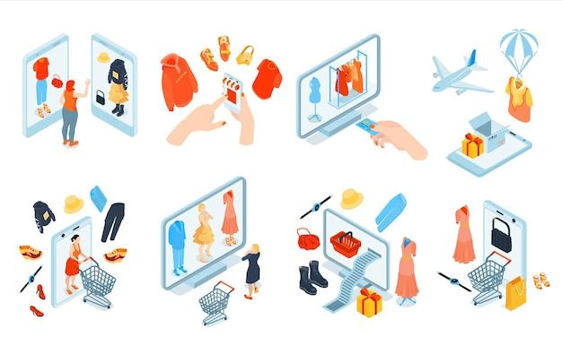 商品と電子ガジェットの孤立したクリップアートの等尺性のオンラインショッピングファッションセット