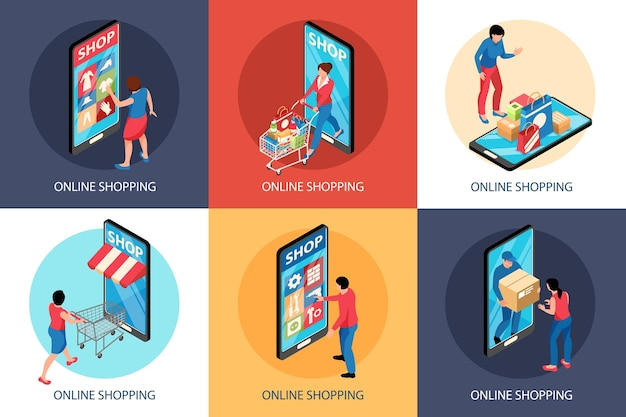 Isometric online shopping illustration concept with square compositions of smartphones shop fronts and carts with people