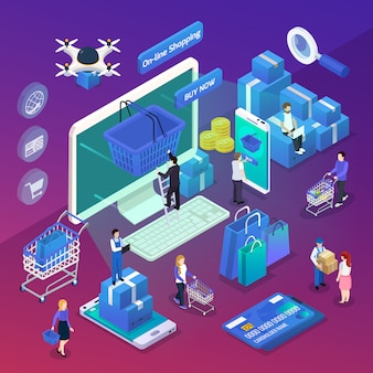 Isometric online shopping illustration