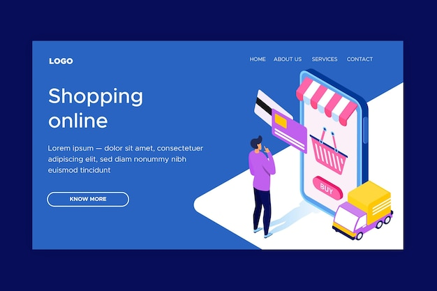 Isometric online shopping landing page template