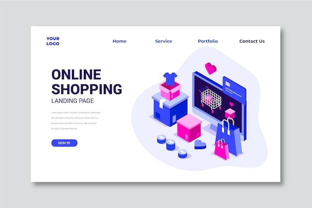 Isometric online shopping landing page