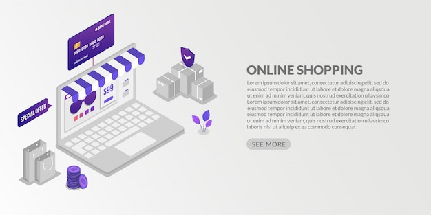 Isometric online shopping and security online payments transaction