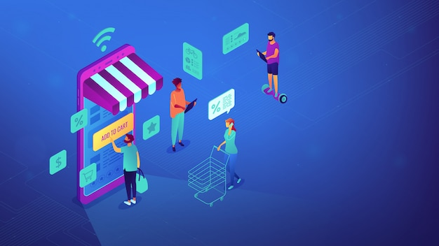 Isometric online shopping and wi-fi illustration.