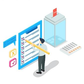 Isometric online survey concept, vector illustration