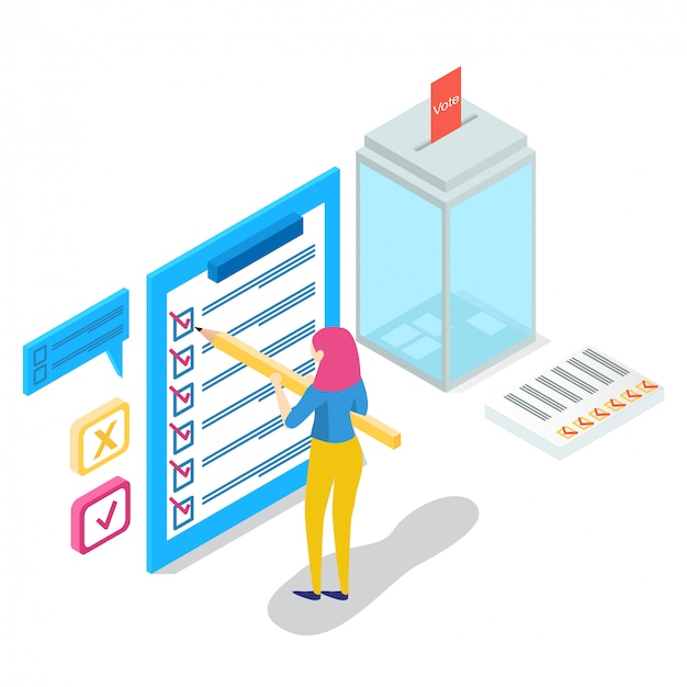 Isometric online survey concept with characters,