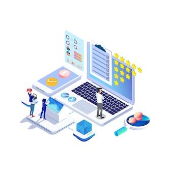 Изометрическая концепция онлайн-опроса с рейтингом звездного пузыря для продуктовых услуг приложений