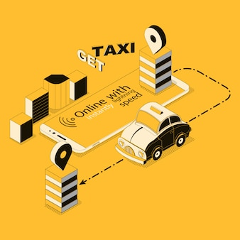 Isometric online taxi, app for smartphone