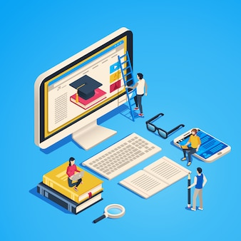 Isometric online teaching. internet classroom, student learning at computer class. online university graduate 3d  illustration