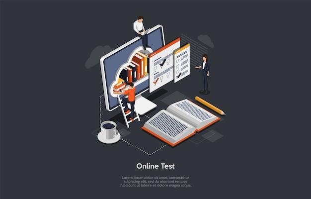 Isometric online test concept. group of students have an exam. metaphor with tiny characters, infographic and huge laptop with books on the screen and man standing on the ladder.