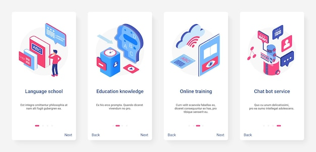 Isometric online training course, education ux, ui onboarding mobile app page screen set