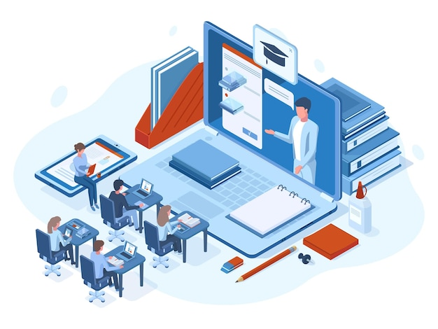アイソメトリックオンラインウェビナートレーニングeラーニングの人々の概念。オンラインウェビナー、学校教育またはデジタルトレーニングのベクターイラスト。遠隔教育の概念