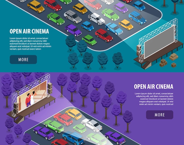 Isometric open air cinema banners illustration