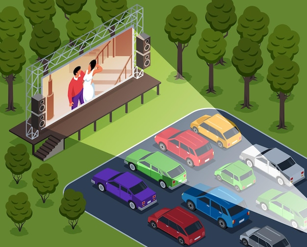 Isometric open air cinema composition with cars in outdoor landscape of drive-in theater screening movie illustration