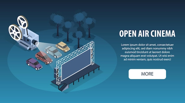 Isometric open air cinema horizontal banner illustration