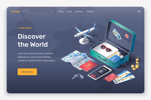 Isometric open suitcase, sunglasses, credit card, coins, tickets, phone, plane, keys, passport and tickets. landing page template.