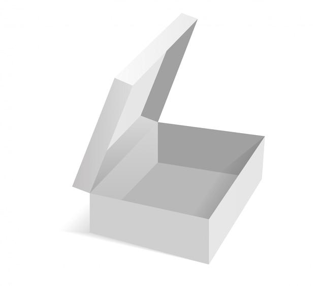 Isometric opened cardboard box packaging