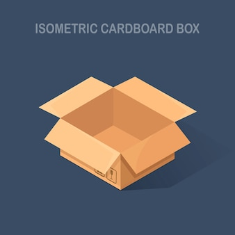 Изометрическая открытая коробка, картонная коробка на фоне. транспортная упаковка на складе, раздача.