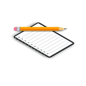 Isometric opened notebook with pencil isolated on white background
