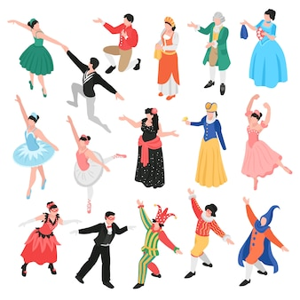 Isometric opera ballet theatre set with isolated human characters of theatrical actors and dancers in costumes