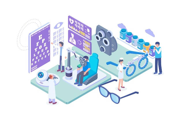 Isometric ophthalmologist eye check up concept