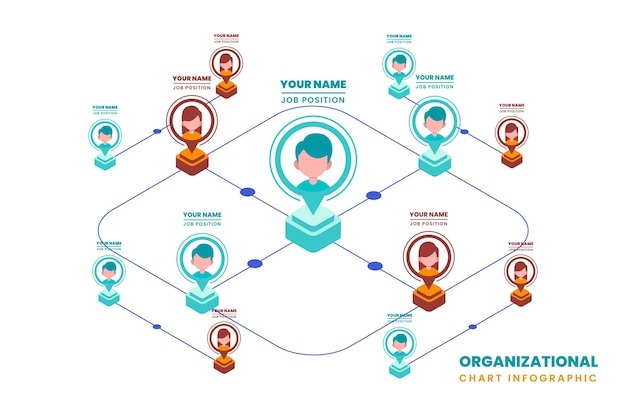 Изометрические организационная диаграмма инфографики