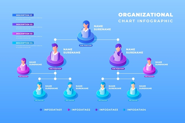 Isometric organizational chart infographic