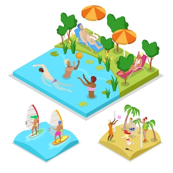 Isometric outdoor activity water polo illustration