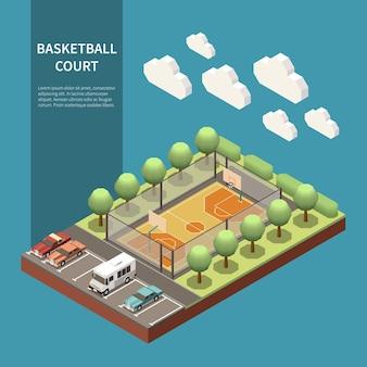 Campo sportivo da basket all'aperto isometrico e automobili parcheggiate accanto all'illustrazione 3d