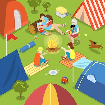 Isometric outdoor camping bonfire picnic family lifestyle time spending concept
