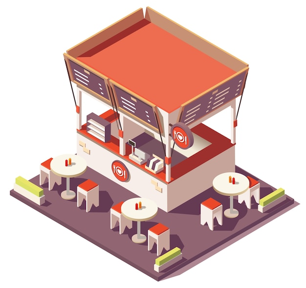Isometric outdoor fast food restaurant