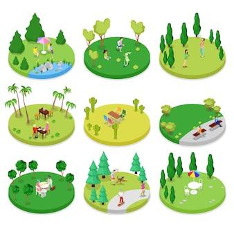 Изометрическая композиция для открытого парка с гуляющими людьми и деревьями