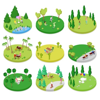 Isometric outdoor park composition set with walking people and trees