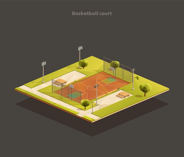 Isometric outdoor public school basketball court