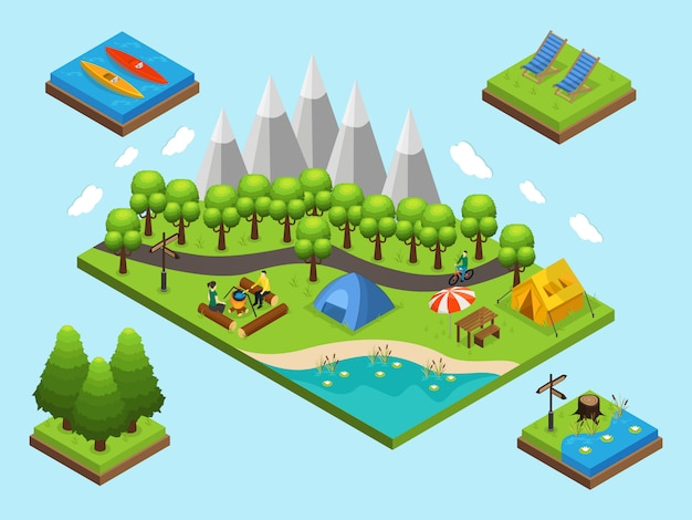 Isometric outdoor recreation composition