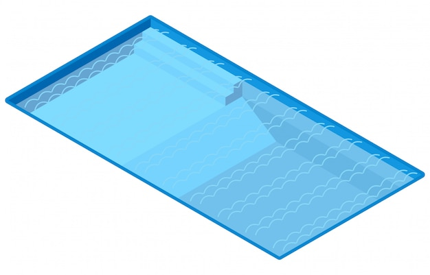 Isometric outdoor swimming pool, illustration vector