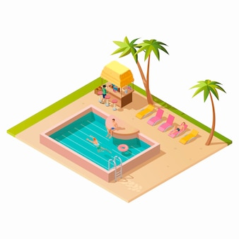Isometric outdoor swimming pool