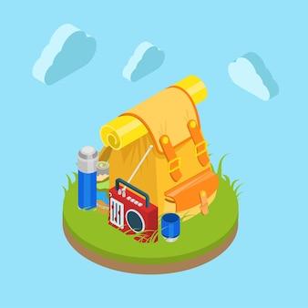 Изометрический рюкзак на открытом воздухе на траве, лужайке, сумка, радио, карта, чашка, термос, туристическая коллекция